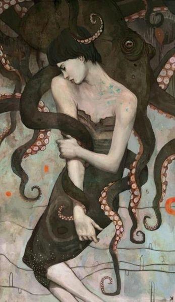 Modern art of a woman sleeping with an octopus