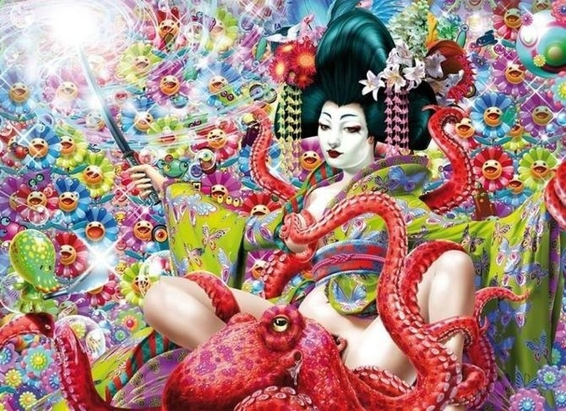 geisha with sword and an octopus performing oral sex surrounded by numerous emoticons