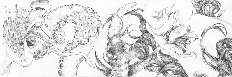 Beautiful women merge with tentacles