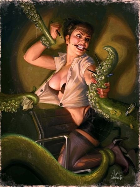 A girls fighting tentacles by sticking pencils in it