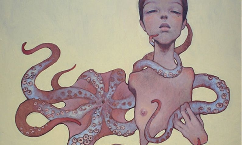 Painting of a girl using a tentacle as an instrument