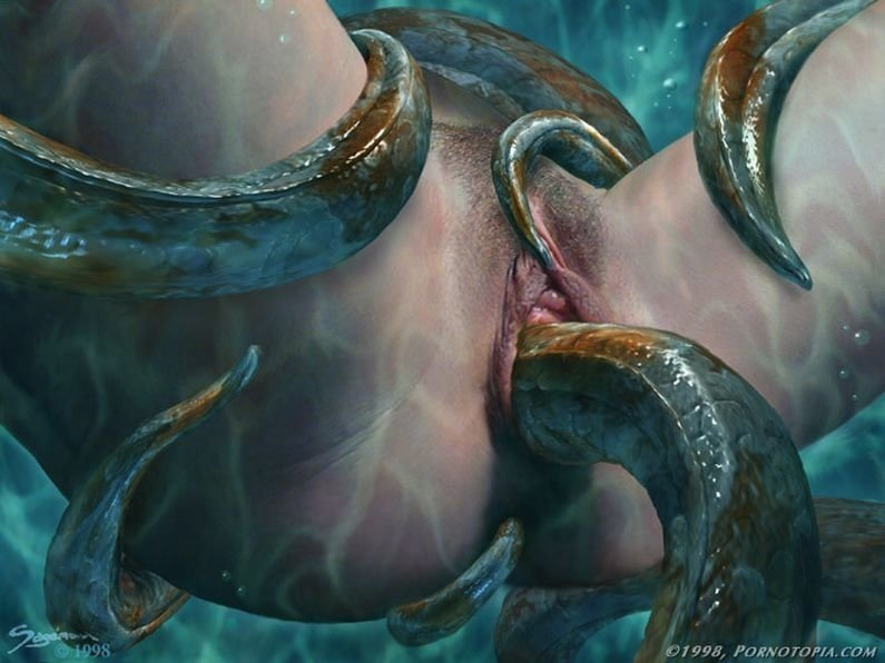 tentacle porn with green tentacles penetrating a vulva in close up