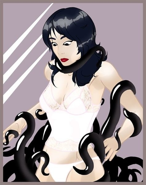 A woman only wearing underwear surrounded by black tentacles