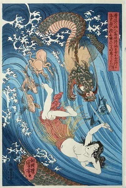 The heroine Tamatori, who has entered the Dragon King's Palace, swimming through the waves holding an outstretched sword and the Treasure Pearl
