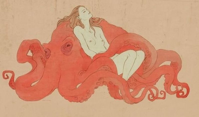adolescent nude female lying on a red octopus