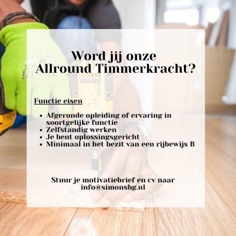 Vacature Allround Timmerkracht