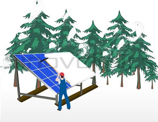 Solar panels in winter