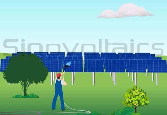 Solar panel maintenance - ground installation cleaning