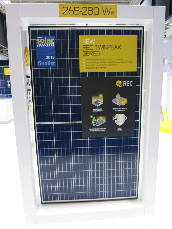 REC TwinPeak solar module at Intersolar Munich 2015