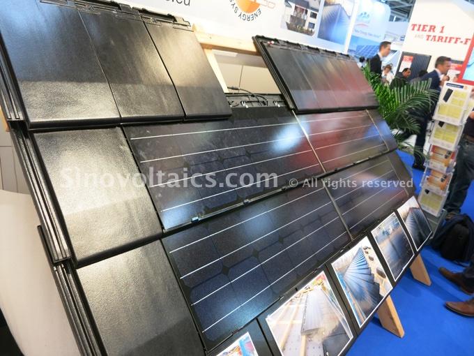 Solar shingles exhibited at Intersolar Munich 2015