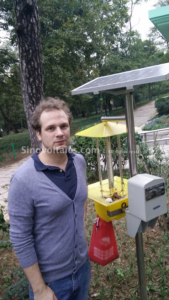 Niclas with a solar bug zapper