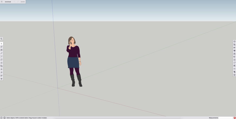 Wat is het verschil tussen Sketchup Pro, Free en Make. Dit is het tekenveld van Sketchup Free.