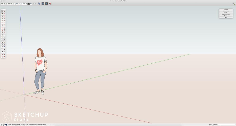 Wat is het verschil tussen Sketchup Pro, Free en Make. Dit is het tekenveld van Sketchup Pro
