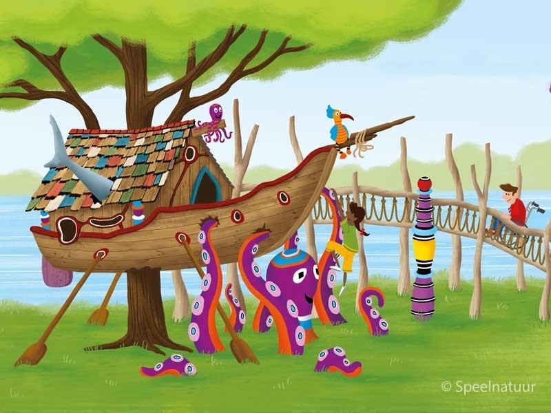 samen spelen in de boomhut