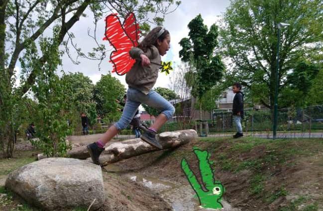 een groen schoolplein stimuleert de fantasie