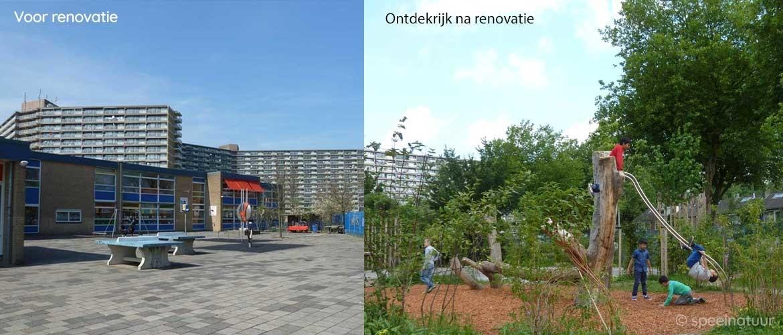 voor en na de renovatie groen schoolplein