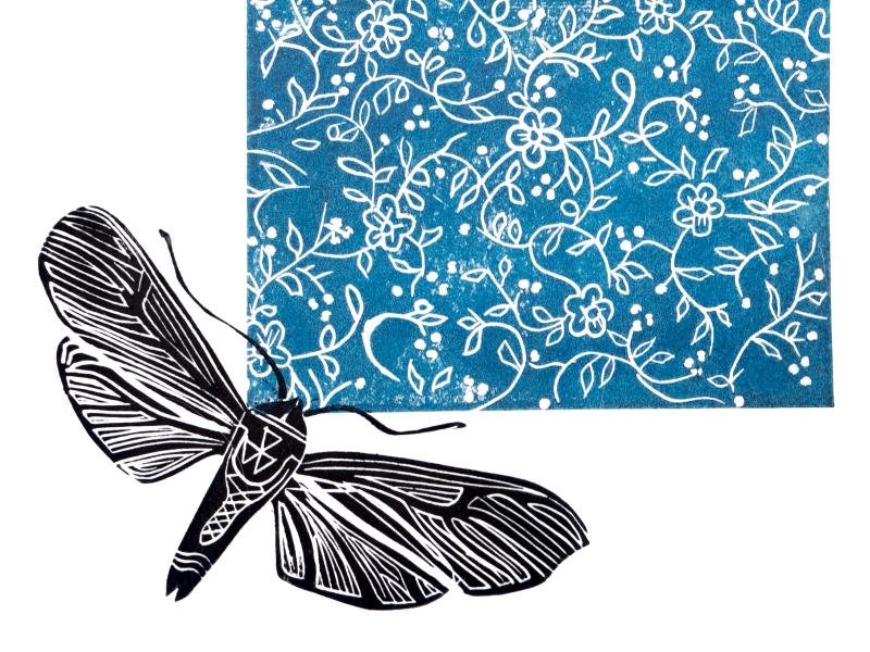 mot insecten en bloemen stempel afdruk