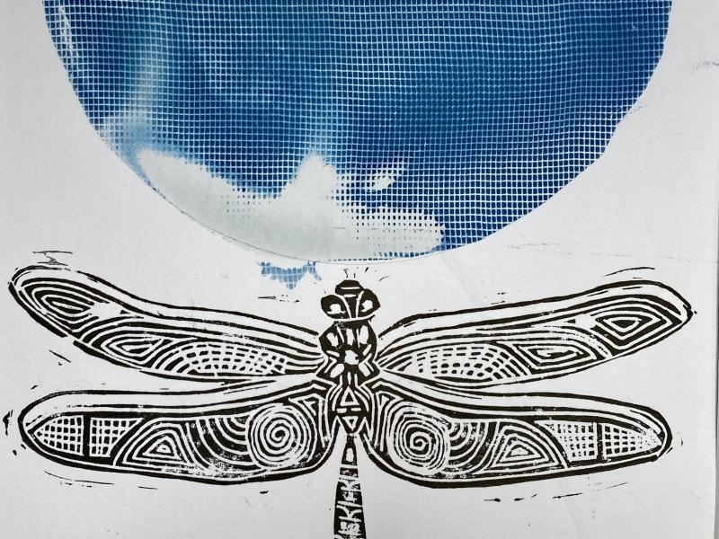 detail insecten stempel en cyanotype