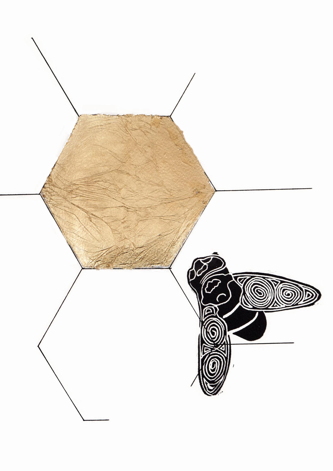 eigen stempels Mixed media insecten druk
