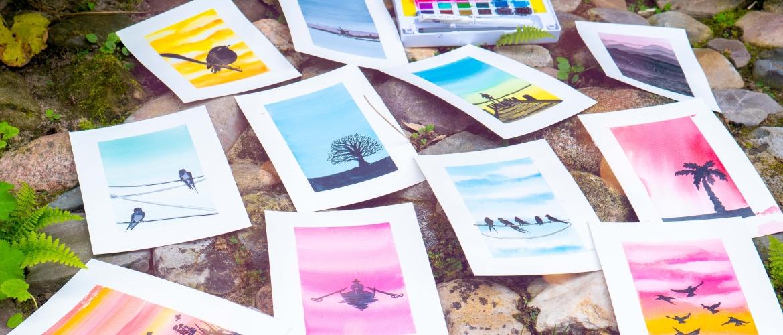 Online aquarel workshop luchten en silhouetten bij Studio Angelart