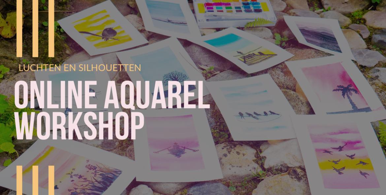 Online aquarel workshop luchten en silhouetten