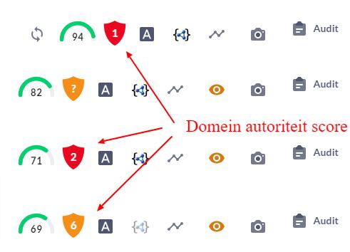 domein autoriteit score door Surfer seo tool.