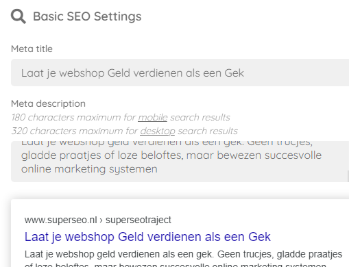 De meta data van je webshop pagina's invullen is erg belangrijk.