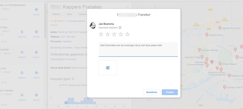 review plaatsen op Google mijn bedrijf tijdelijks niet mogelijk vanwege COVID-19