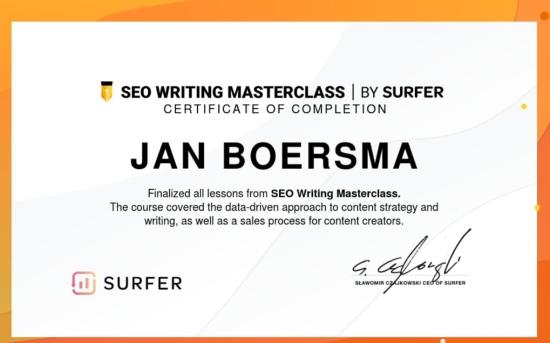 Certificaat erkend seo tekstschrijver