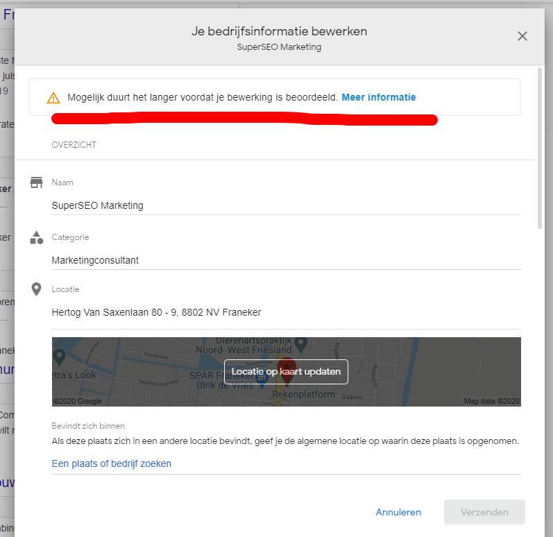 bedrijfsinformatie google mijn bedrijf bewerken