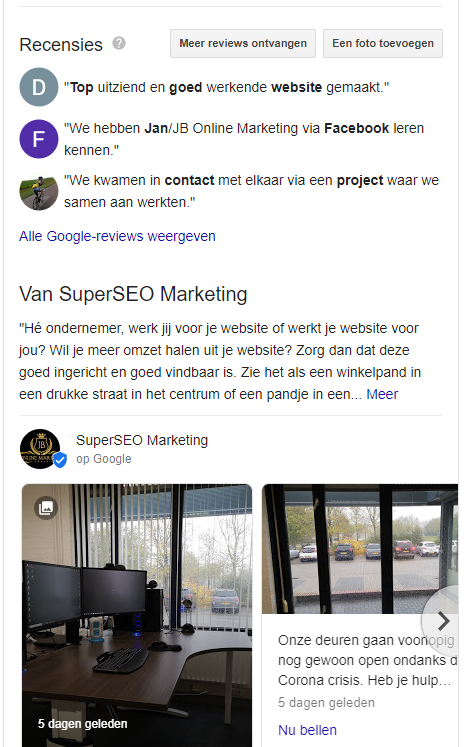 SuperSEO Marketing Franeker op Google Mijn Bedrijf