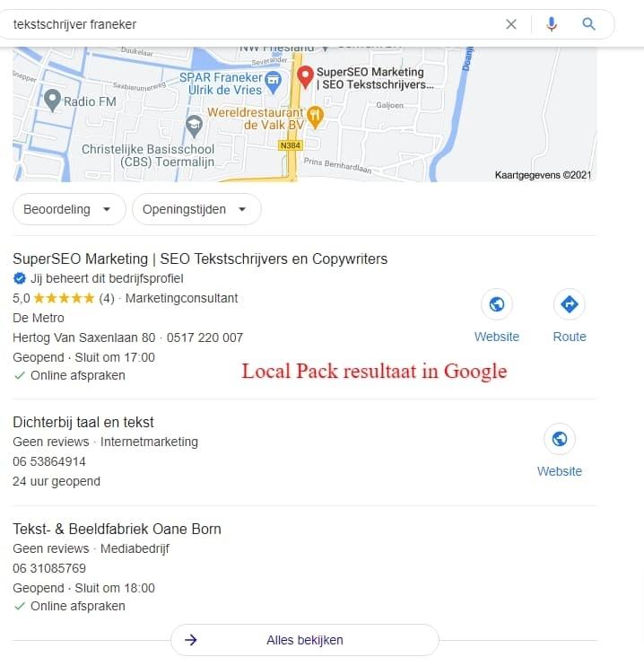 3 bdrijven worden uitgelicht in lokale zoekresultaten.