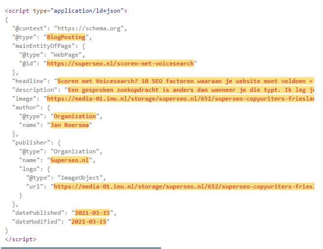 voorbeeld van schema markup html code.
