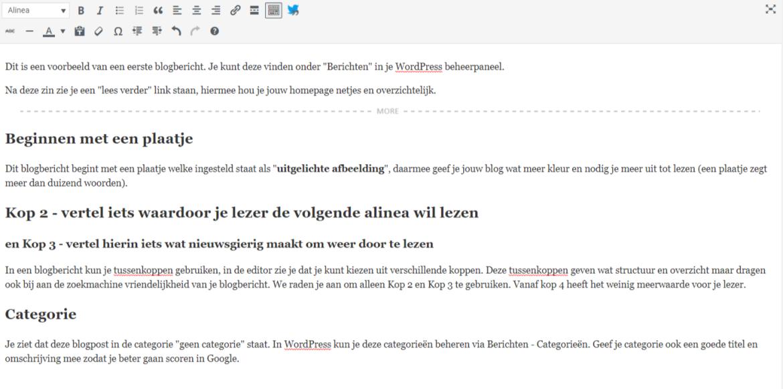 De opbouw van een blogartikel in WordPress