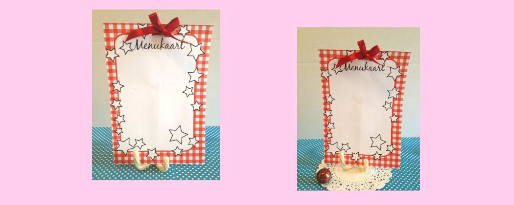 Kerst menukaart maken met kerstzuurstokjes