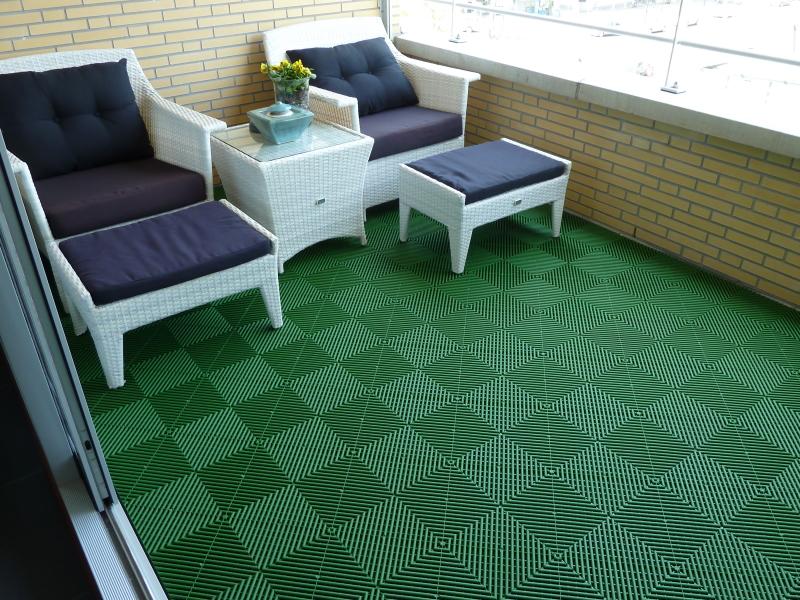 Groene-balkonvloer