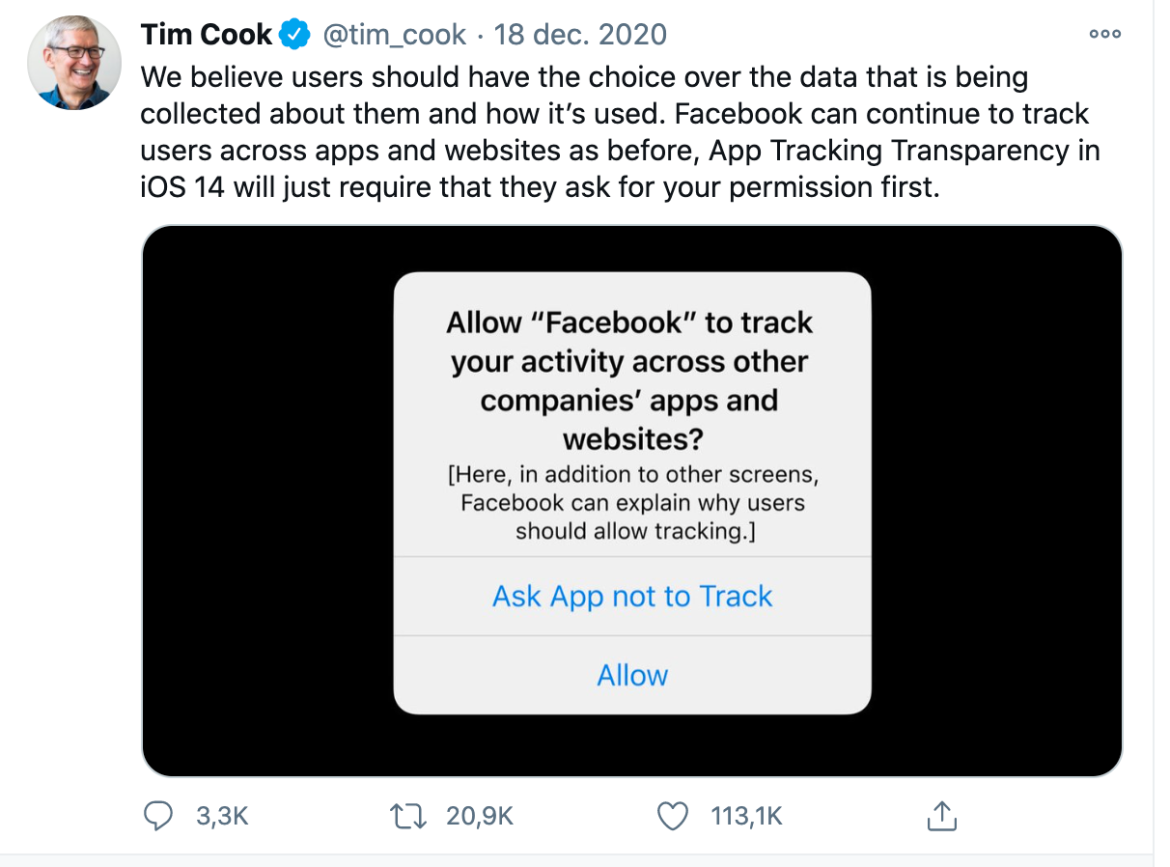 Tim Cook Tweet over iOS 14
