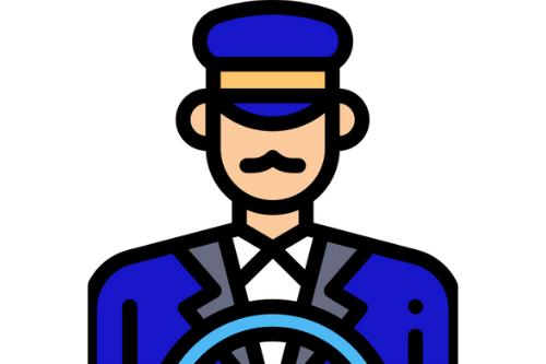Privé chauffeur met blauw maatpak achter stuur van taxi