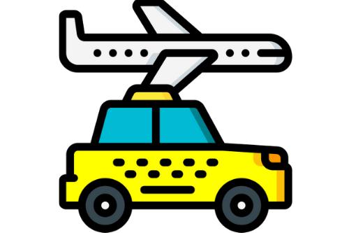 Gele taxi voor luchthavenvervoer en wit vliegtuig