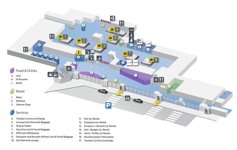 plattegrond luchthaven Zaventem