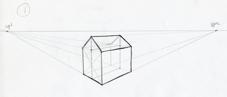 Oefenen met het tweepuntsperspectief: eenvoudig huis