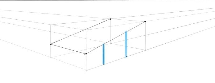 Verticale lijnen in tweepuntsperspectief