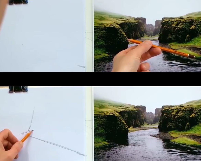 Richting van lijnen meten met potlood