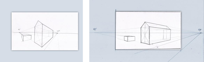 tweepuntsperspectief punten binnen en buiten beeld
