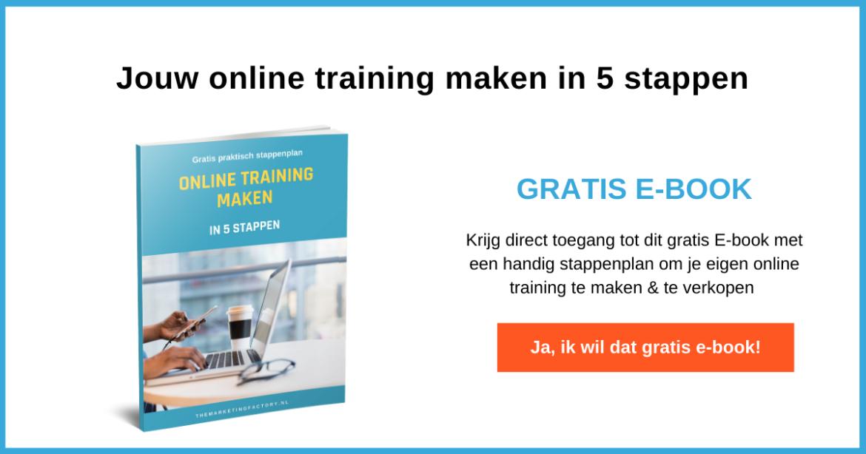 aanmelden gratis ebook online training maken in 5 stappen - online geld verdienen
