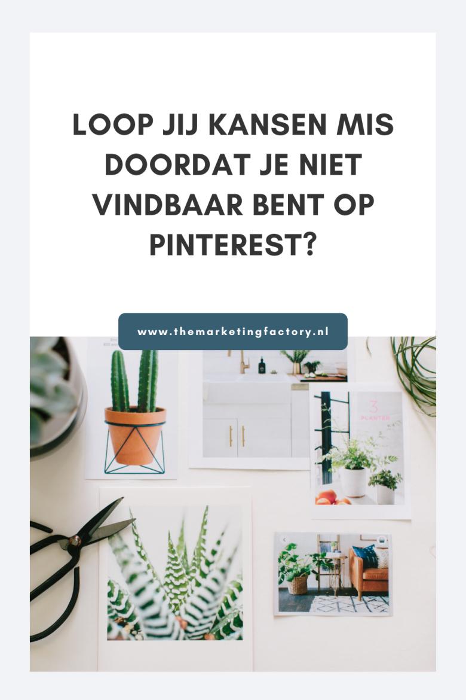 Pinterest wordt vaak onderschat. Daarom laten ondernemers en bloggers dit platform vaak links liggen. Een gemiste kans. Bekijk hier wat je misloopt als je geen Pinterest marketing inzet voor je business en je online zichtbaarheid, en dus niet vindbaar bent op Pinterest.