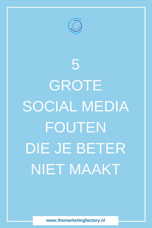 Bekijk hier wat 5 veelgemaakte social media fouten zijn die je klanten kosten. En hoe je deze heel eenvoudig kunt voorkomen. Social media lijken zo simpel. Toch worden deze online marketing kanalen vaak niet op de juiste manier ingezet. En dat is zonde want social media marketing kost een hoop tijd