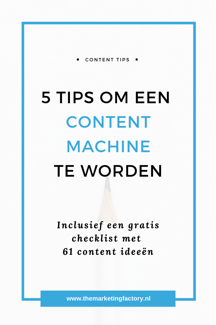 Slim content produceren zodat je meer content in minder tijd maakt | content slim inzetten voor het werven van nieuwe klanten | online zichtbaarheid | content strategie | content ideeën | klanten via social media | content marketing strategie | productiviteit | zzp | ondernemen | online verkopen | online marketing | sociale media tips | social media strategie | content marketing tips | online ondernemen | #contentmaketing #productiviteit #themarketingfactory
