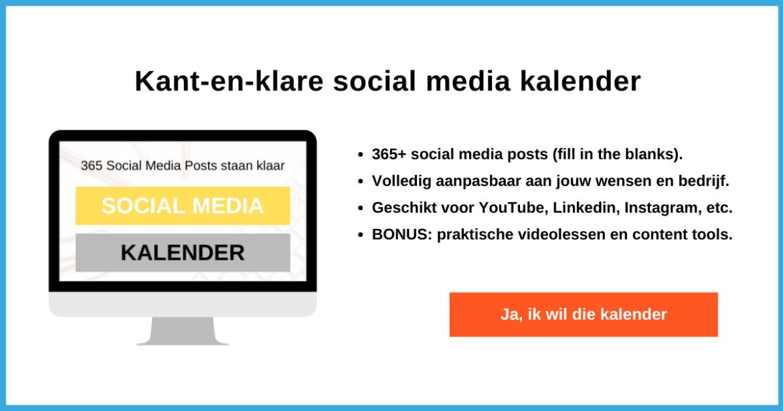 Kant en klare social media content kalender (kwestie van fill in the blanks)