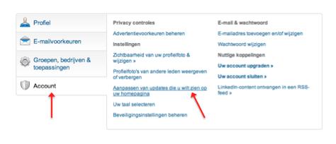 Updates van LinkedIn connecties verbergen